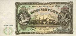 * LATVIA 20 LATU 1936 P-30b UNC [LV119b] - Lettonie