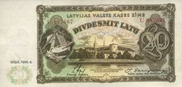 * LATVIA 20 LATU 1936 P-30b UNC [LV119b] - Latvia