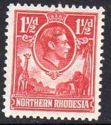 Northern Rhodesia GVI 1938-52 1½d Carmine Red Giraffe Elephant Definitive, Lightly Hinged Mint, SG 29 (BA) - Northern Rhodesia (...-1963)