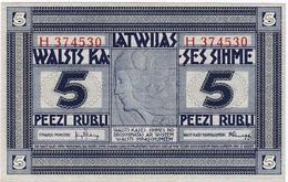 * LATVIA 5 RUBLI ND (1919) P-3f UNC PREFIX H [LV103f] - Lettonie