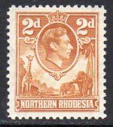 Northern Rhodesia GVI 1938-52 2d Yellow-brown Giraffe Elephant Definitive, Lightly Hinged Mint, SG 31 (BA) - Northern Rhodesia (...-1963)