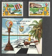 Romania 1992 Mi 4799-4800 + Block 273 MNH CHESS SCHACH - Chess