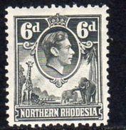 Northern Rhodesia GVI 1938-52 6d Grey Giraffe Elephant Definitive, Hinged Mint, SG 38 (BA) - Northern Rhodesia (...-1963)