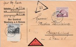 Allemagne Lettre Contre Remboursement Neuburg 1940 - Brieven