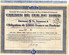 CHEMIN DE FER DU NORD -Obligation De 1.000 Au Porteur - Série 17 - Chemin De Fer & Tramway