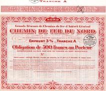 CHEMIN DE FER DU NORD -Obligation De 500 Au Porteur - Emprunt 3% - Chemin De Fer & Tramway