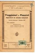 CONTRATTO COLLETTIVO DI LAVORO VIAGGIATORI E PIAZZISTI  DEL 1/12/1937 CON MARCA DA BOLLO AUMENTO DEL 5 % - Società, Politica, Economia