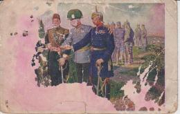 Turkey Germany Austria Turkish Sultan Otoman German Kaiser And Franz Joseph Damaged Das Neus Waffenbruder Unused - Hommes Politiques & Militaires