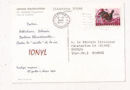 YOUGOSLAVIE BEOGRAD 1960 Timbre Grand Tetras Sur Carte Pub IONYL Type De Paysanne - 1945-1992 République Fédérative Populaire De Yougoslavie