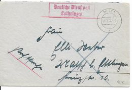 """1941 - MOSELLE - ENVELOPPE De SERVICE De L'ADMINISTRATION ALLEMANDE à METZ """"DEUTSCHE DIENSTPOST LOTHRINGEN"""" - Marcophilie (Lettres)"""