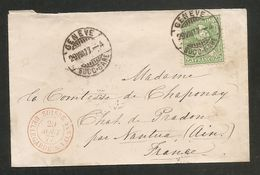 BELLE PETITE LETTRE Pour La FRANCE - 1877 - Cachet Rouge - Pas Connaisseur - Cartas