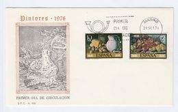 1976 SPAIN FDC Stamps ART, FRUIT , BREAD, POTTERY Cover Bird - Fruits