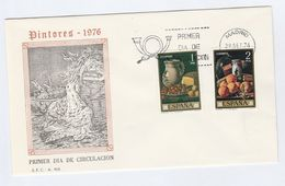 1976 SPAIN FDC Stamps ART, FRUIT ,  POTTERY Cover Bird - Fruits