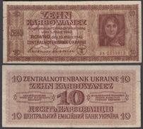 Ukraine 10 Karbowanez 1942 (F-VF) Condition Banknote P-52 WWII - Ukraine