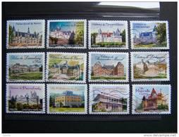 OBLITERE 2012 SERIE N°726/737 COMPLETE (12 Val) CHATEAUX ET DEMEURES HISTORIQUES DE NOS REGIONS - France