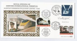 1996 SIGNED Sir KEITH SPEED Carried EUROSTAR CHANNEL TUNNEL TRAIN Ashford GB France Railway Letter Stamp Cover Royalty - Trains