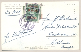 Costa Rica - 1963 - Peculiar Franking: 4 Stamps Cancelled And Stapled To Postcard - Costa Rica