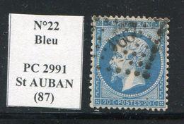 FRANCE- Y&T N°22- PC 2991 (SAINT AUBAN 87) Très Rare!!! - Marcophilie (Timbres Détachés)