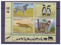 Vereinte Nationen Wien, Mi.-Nr. 143-46 Viererblock Eckrand Unten Links, **, 1993 Gefährdete Tiere - Non Classés