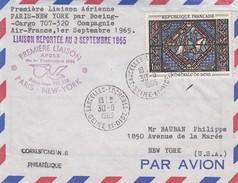 FRANCE - 1ere LIAISON AERIENNE PARIS-NEW YORK 1.9.1965 REPORTEE AU 3 SEPT. 1965  - DE SARCELLES-LOCHERES 30.8.1965 /2 - Air Post