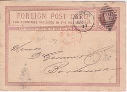 1877 - DUBLIN Irlande - Rare ENTIER POSTAL   - Cachet 136 LOSANGE  Dublin VIA Calais - Entiers Postaux