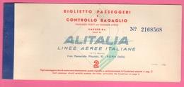Alitalia LAI Avion Flight Carta D'imbarco Biglietto 1959 Roma Brussel Roma - Transportation Tickets