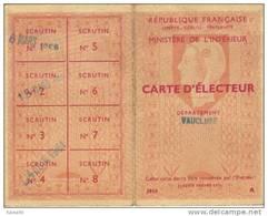 Carte D´Electeur - Old Paper