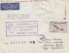 FRANCE -25e ANNIV. 1ere TRAVERSEE ATLANTIQUE SUD PAR MERMOZ 1930-1955 - EVREUX TO BUENOS AIRES 10.5.55 ARGENTINE / 1 - Air Post