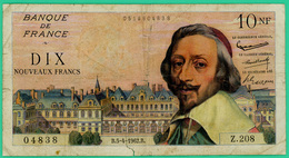 10 Francs -Richelieu - France - N°Z.208 - 0519804838 - / 5=4=1962  - TTB+ - - 1959-1966 Nouveaux Francs