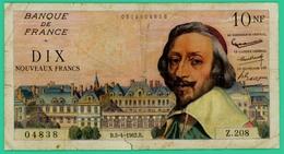 10 Francs -Richelieu - France - N°Z.208 - 0519804838 - / 5=4=1962  - TB - - 1959-1966 ''Nouveaux Francs''