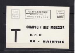 """86 NAINTRE   """" COMPTOIR DES MOUSSES """"      CARTE REPONSE Valable Du  15 12 1968  Au 14 12 1969 - Francia"""