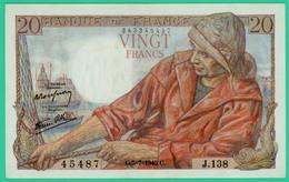 20 Francs -Pêcheur - France - N°J.138 - 343345487 / 5=7=1945 - TTB+ - - 20 F 1942-1950 ''Pêcheur''