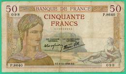 50 Francs -Cérès - France - N° P.8640 - 098 /6=10=1938   - TB - - 1871-1952 Circulated During XXth
