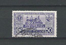 1931 N° 276 LA BASILIQUE DE PADOUE   OBLITERE DOS PLIE ACCORDEON - 1900-44 Vittorio Emanuele III