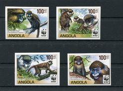 "WWF - Angola - Mi.Nr. 1858 / 1861 - ""Meerkatzen"" ** / MNH - (Jahr 2011) Geschnitten / Imperforated - W.W.F."