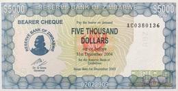 Zimbabwe 5,000 Dollars P-21d, 2003, Scarce Bearer Check Issue UNC - Simbabwe
