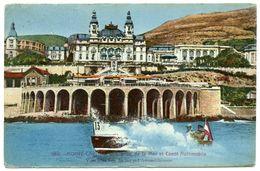 MONTE CARLO : VUE PRISE DE LA MER ET CANOT AUTOMOBILE / TIMBRES - MONACO - Monte-Carlo
