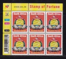 RSA, 2003, Mint Never Hinged Stamp(s), Stamp Of Fortune In Controlblocks,  Sa1572, X708 - Ongebruikt
