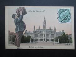 """CP AUTRICHE (V1708) VIENNE WIEN (2 Vues) """"Nur Ka Wasser Net"""" Homme Buvant Un Tonneau De Bière - Vienne"""