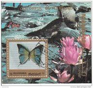 Bf. 221A Manama 1972 Farfalle Butterfly Papillons Mariposas : Fiori - Ninfee - Farfalle