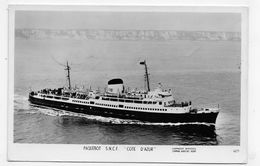 (RECTO / VERSO) PAQUEBOT S.N.C.F. COTE D' AZUR EN 1953 - N° 4671 - CACHET AMBULANT - 75 -  FORMAT CPA VOYAGEE - Paquebots