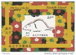 Norfolk Island......:  1996 Year Of The Rat Souvenir Sheet - Norfolk Island