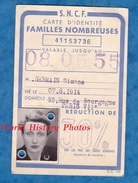 Carte Ancienne D'identité SNCF Famille Nombreuse - 1953 / 1955 - PARIS Austerlitz - Simone Germain Photomaton - Transportation Tickets