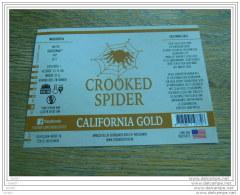 BIERETIKET CROOKED SPIDER CALIFORNIA GOLD - Bière