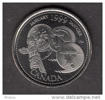 Canada, 25¢,  UNCL, 1999, Janvier, January, Totem, Indiens D'amérique, Amérindien, Amerindian, Police - Canada