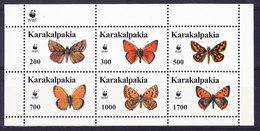 LABEL -KARAKALPAKIA, BUTTERFLIES WWF ** MNH. (4F226) - Vignettes De Fantaisie
