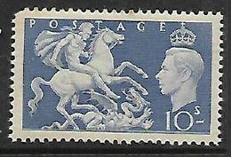 Great Britain George VI, 1951, 10/=, MH *, Gum Tone, Hinge Remnant, Missing Perf NW - 1902-1951 (Re)