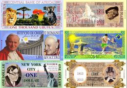 Fantasy Commemorative Banknotes Lot Set 6 Pieces - Banconote