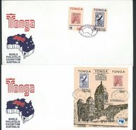 Tonga 1984 Ausipex Self Adhesive Set Of 2 & Miniature Sheet On 2 Official FDC 's Unaddressed - Tonga (1970-...)