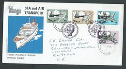 Tonga 1983 Transport Ship & Plane Set 4  On Official FDC , Then Reused And Addressed To UK - Tonga (1970-...)